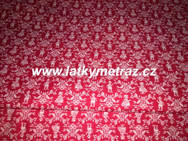postavičky na červeném-zbytek 80  cm