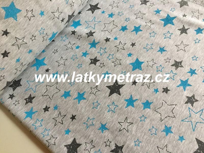 teplákovina šedé a modré hvězdy na šedé-zbytek 60 cm
