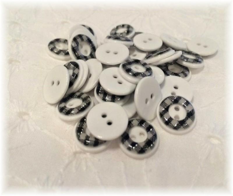knoflíčky černobílé-13 mm