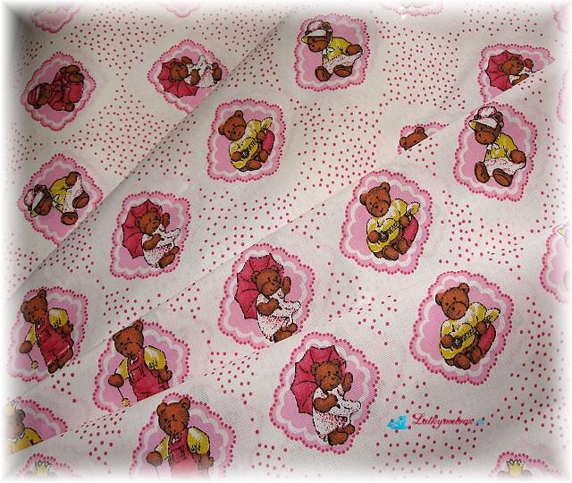 růžová dětská s medvídky-zbytek 1m