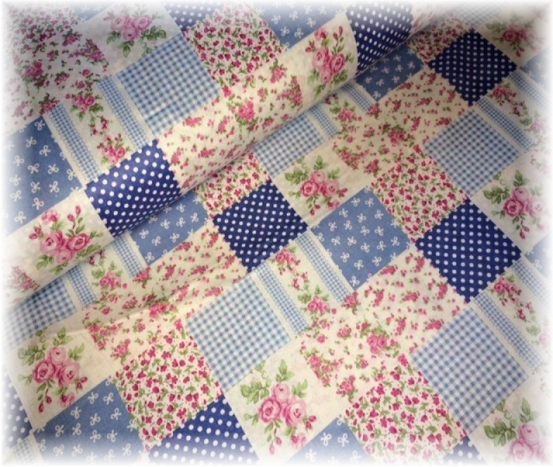 patchwork--modrý Látky metráž 40520e38fb1