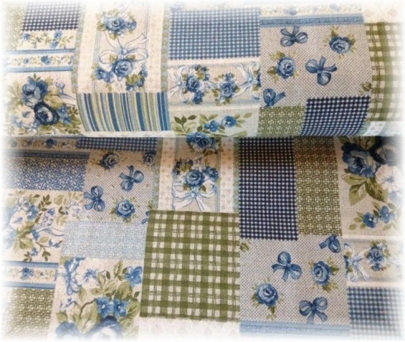 pevná látka-patchwork modrý