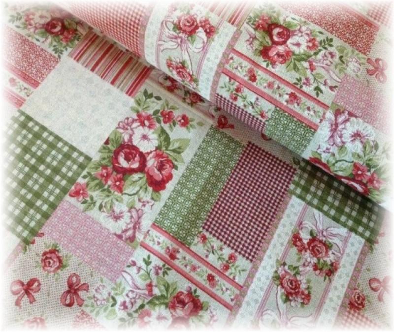 pevná látka-červený patchwork-zbytek 80 cm