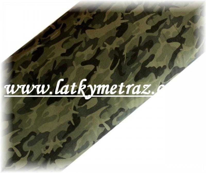 teplákovina-zelený maskáč tmavý-zbytek 20 cm
